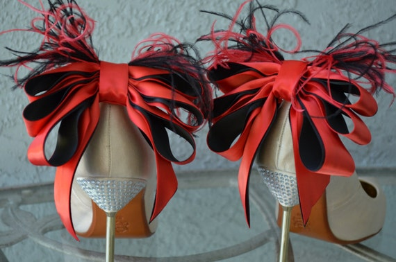 Red And Black Satin Ribbon Bow And Feather Shoe Clips More Colors Available