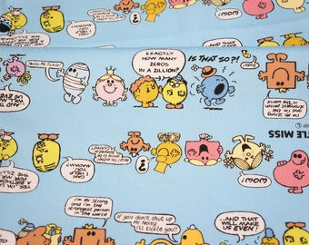 Cartoon Character Fabric Mr Men Little Miss  50 cm by 106 cm or 19.6 by  21 inches FAT QUARTER