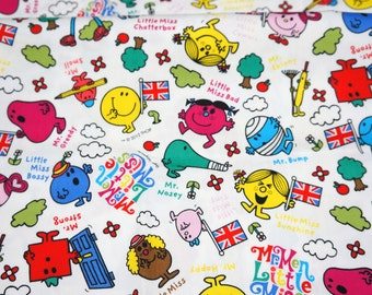 Cartoon Character Fabric Mr Men Little Miss  50 cm by 53 cm or 19.6 by 21 inches FAT QUARTER