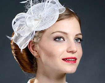 White small fascinator hat for weddings, brides, church, Derby, Ascot-New hat from my S/S 2015 collection!