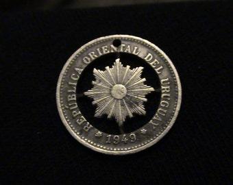 URUGUAY - cut coin pendant - SUN - 1949