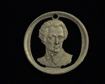 Greece - cut coin pendant - Dionysios Solomos, Composer of Greek National Anthem - 1990