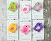 Felt Bird Hair Clip - You Pick 1 - Apple Green, White, Grey, Yellow, Pink, Purple - cute every day hair bow - party favor - bird hairbow