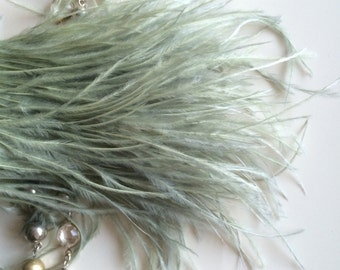 OSTRICH FEATHER FRINGE  Sage Green / 2066