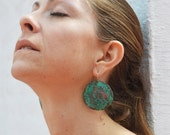 """satellite dish earrings - oxidized copper domed discs - the original 1.75"""" - boho chic - rustic - ethnic - gypsy"""
