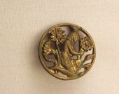 BRONZE CLEOPATRA  BUTTON  Egyptian Revival Metal Victorian round  Vintage   Pierced 3/4  inch diam