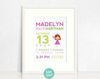 Custom Birth Announcement Print - Princess Nursery Wall Art