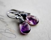 Galaxy Nebula Earrings Super Seven Purple Dangle Plum Drop
