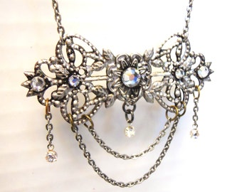 Necklace with crystals Antique distressed silver finish art nouveau inspired Jewelry perfect for elegant steampunk lady bride or wedding