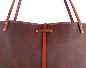 In Blue Handmade leather bag - handmade leather purse - Leather market tote