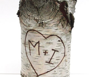Personalized birch bark vase with free engraving, Large