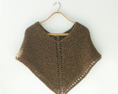 Wool Knit Poncho, Brown Poncho, Winter into Spring Wrap, Ready to Ship