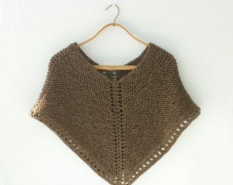 Knit Poncho,  Spring Wrap,  Hippie Poncho, Boho Poncho, Custom Chose Color