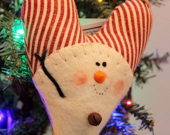Snowman, Prim Snowman Needle Felted, Snowman Christmas Ornament Red and White