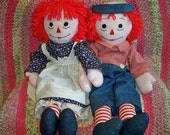 Vintage 1970s Raggedy Ann and Andy Dolls Large Handmade