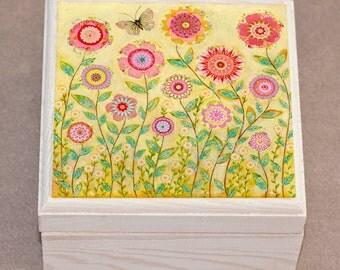 July Flowers Jewelry Box, Butterfly Flower Wooden Jewelry Box, Trinket box
