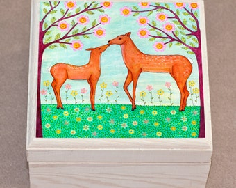 Jewelry Box, Keepsake Trinket Box, Woodland Animal Theme