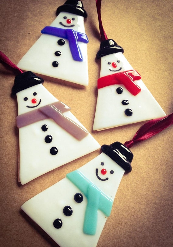 Handmade fused glass snowman hanging decorations by