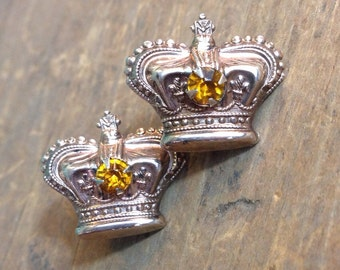 Antique Sterling and Faux Topaz Crown Screwback Goldwash Earrings