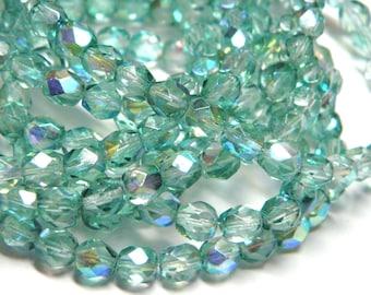 Czech Glass Beads Aqua Green 6mm Faceted Round  (30)