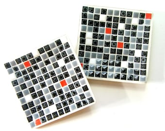 Vintage Mosaic Tray Set, Black White Red Grey Mosaic Dish Set, Refurbished Mosaic Tray Set, Mid Century Mosaic Set, Retro Tile Mosaic Trays
