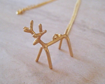 Reindeer Necklace, Gold Deer Necklace, Antler Necklace, 14K Gold Fill Jewelry