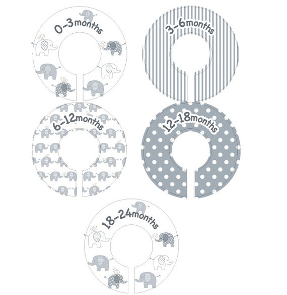 Elephant Baby Closet Dividers Gender Neutral Clothing