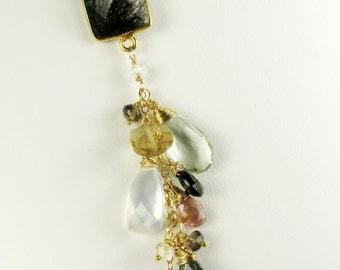 rutilated quartz gemstone tassel necklace, gemstone pendant, gold fill