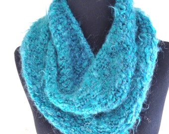 blue knitted women handmade knitted wrap cowl scarf