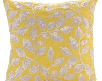 """Luxury Yellow Cushion Covers, 16""""x16"""" Silk Pillows Cover, Square  Sequins White Leaves Pillows Cover - Nature Is Classy"""