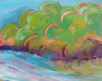 Willamette River 33 original abstract landscape oil painting