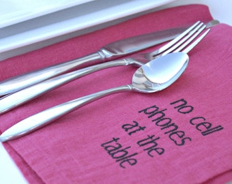 Linen Napkins with Manners in HOT PINK Linen Set of 6 Gift Ideas Embroidered Napkins Eco Friendly Vegan Friendly Typography