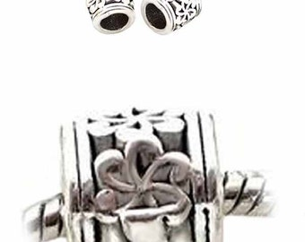 MERZIEs 2 antique silver plate European charm 10x9x10mm spacer large 6mm hole beads