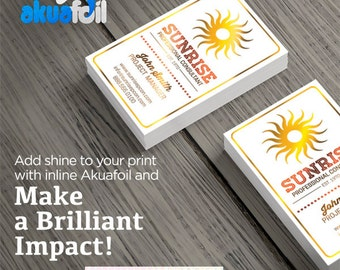 500 One Sided Akua Foil With UV Coating Business Cards