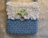 Handmade Purse, Crocheted Purse, Powder Blue and White Purse, Cross body Purse, Children's Purse, Handmade Set, Girls Purse, Accessories