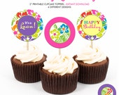 Luau Birthday Party - Printable 2 inch round Cupcake Toppers - Instant Download PDF File