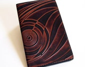 Leather Checkbook Cover Holder with Art Deco Pattern