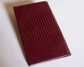 Leather Checkbook Cover - Burgundy/Marsala Lizard Grain Leather