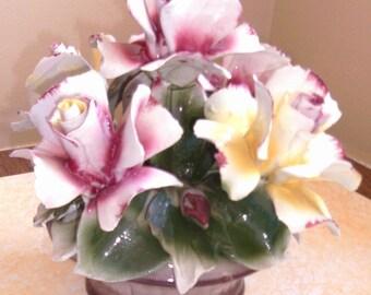 SALE- Marked Capodimonte Beautiful Italian Porcelain Basket of Roses