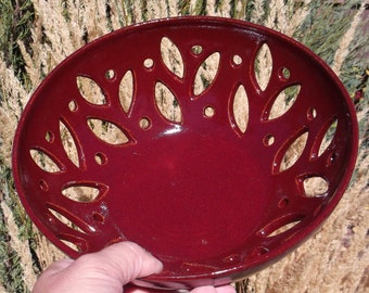Red Bowl with Carvings - Handmade Pottery