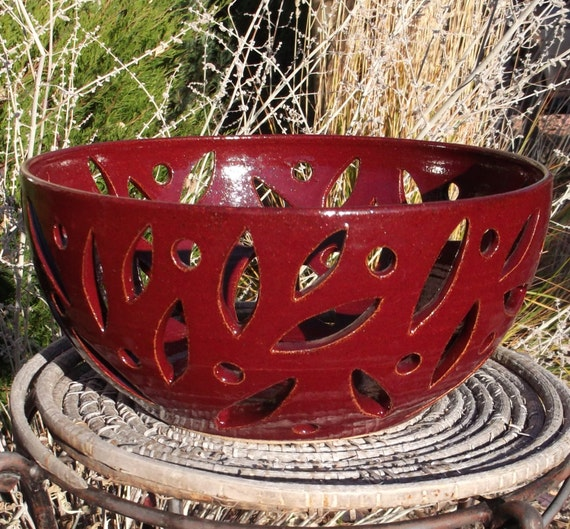 Red Cherry Pottery Bowl - Handmade and Carved Pottery
