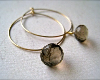 One Last Kiss Earrings - smokey quartz hoop earrings, silver hoops, gold hoops, gemstone hoop earrings, smokey quartz, E02