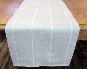 LINEN natural linen small white stripes  Tablerunner 13x84