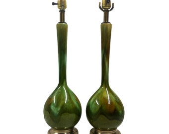 Vintage Green Drip Glaze Table Lamps Mid Century Modern