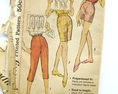 Vintage 1960s Women's Capri Pants, Bermuda, and Short- Shorts Sewing Pattern Waist 28 Hip 38 Simplicity 3435