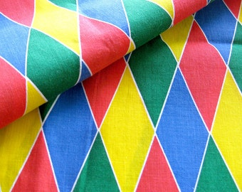 Vintage Harlequin Print Cotton Yardage - Red yellow Green Blue Diamond Pattern