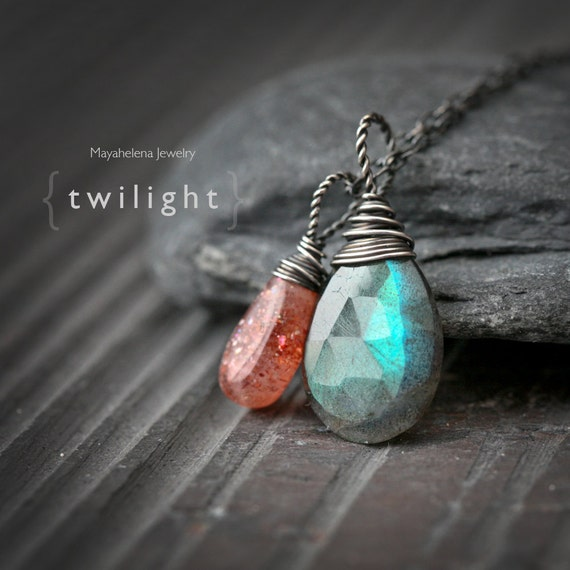 Twilight - Flashy Labradorite and Sunstone Wire Wrapped Sterling Silver Necklace Pendant