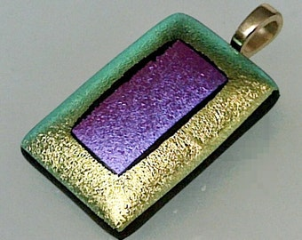 Gold & Purple Dichroic Fused Glass Rectangle Pendant