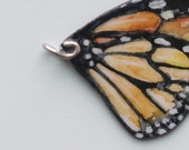 Butterfly Wing Pendant Monarch impressionistic Watercolor Painting Art Jewelry Orange Insect