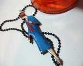 SALE 15% off Edith 1920's Woman Handmade Wood Pendant Necklace - Blue & Red